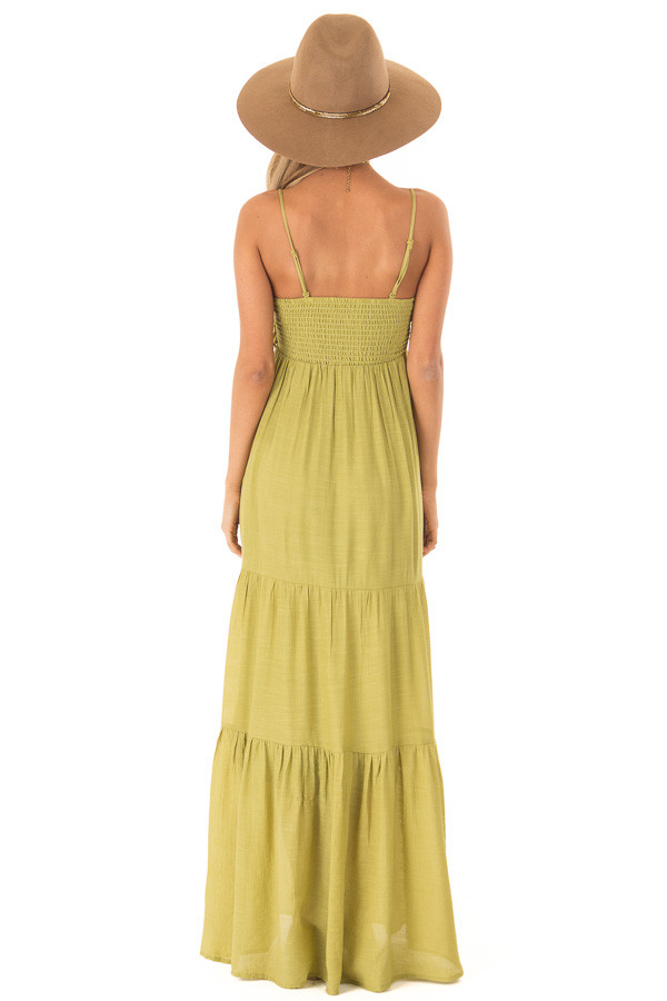 Avocado Tiered Maxi Dress with Front Tie Detail back full body