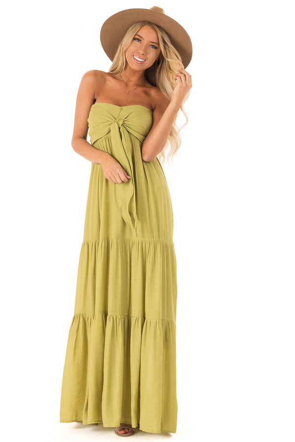 Avocado Tiered Maxi Dress with Front Tie Detail front full body