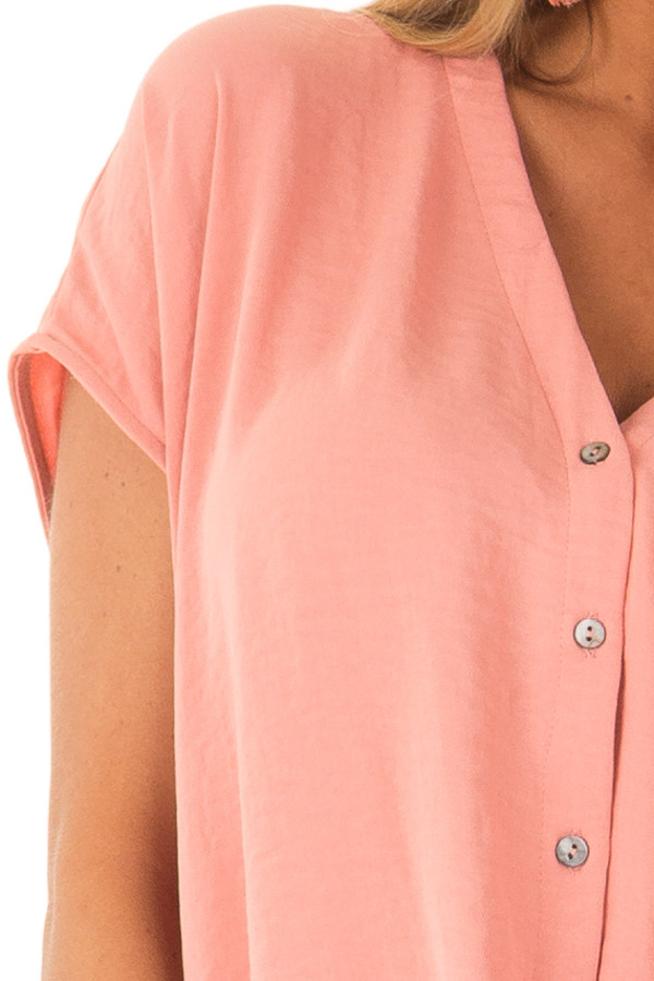 Deep Peach Short Sleeve Button Up Blouse with Twisted Front detail