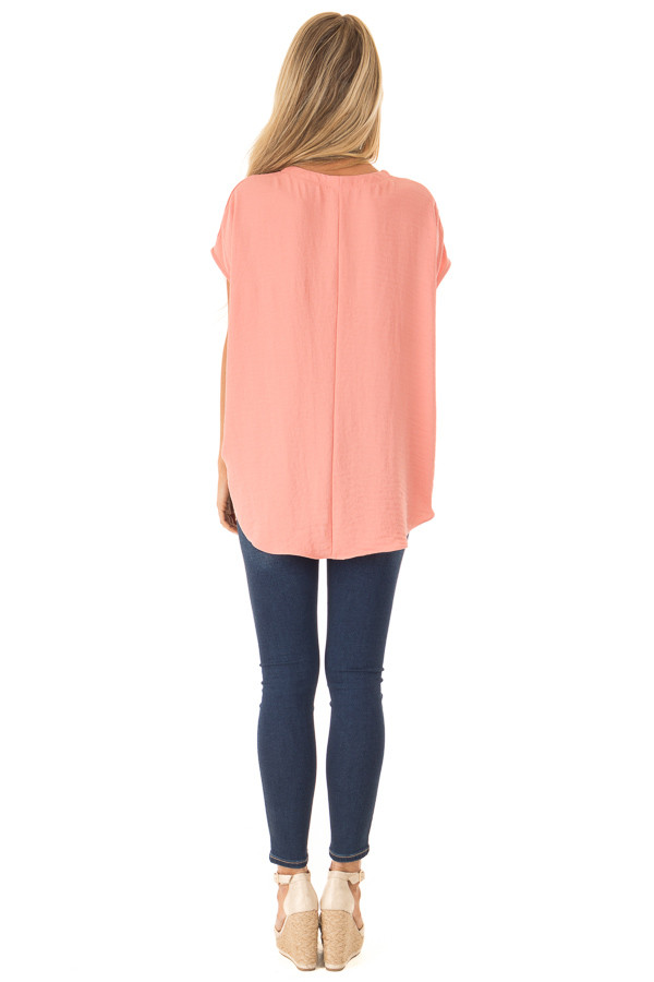 Deep Peach Short Sleeve Button Up Blouse with Twisted Front back full body