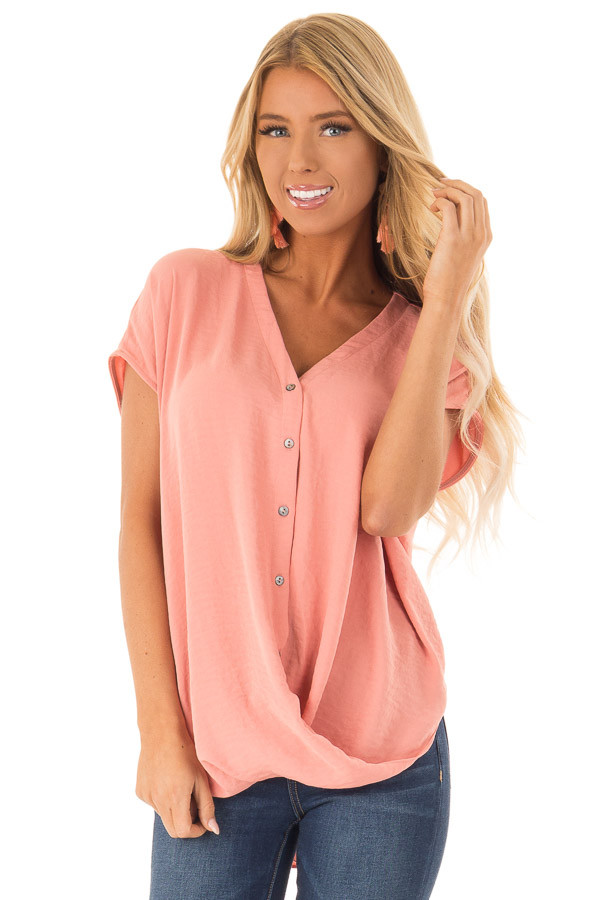 Deep Peach Short Sleeve Button Up Blouse with Twisted Front front close up