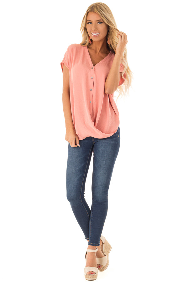 Deep Peach Short Sleeve Button Up Blouse with Twisted Front front full body