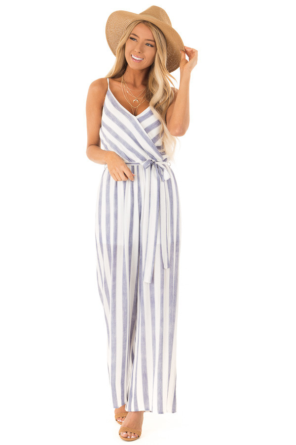 d6c2f9589fd Navy and Off White Striped Jumpsuit with Waist Tie - Lime Lush Boutique