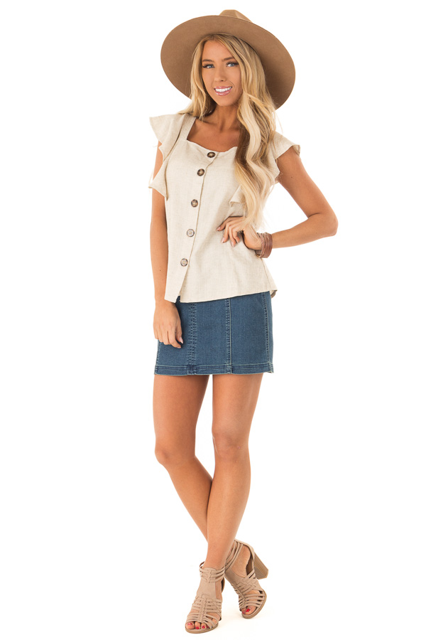 15a0bd71384a90 Oatmeal Square Neck Button Up Top with Ruffle Cap Sleeves front full body