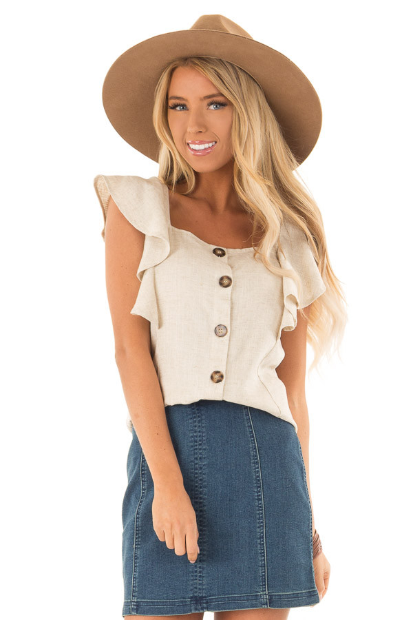 94f69ddd0471fa Oatmeal Square Neck Button Up Top with Ruffle Cap Sleeves front close up