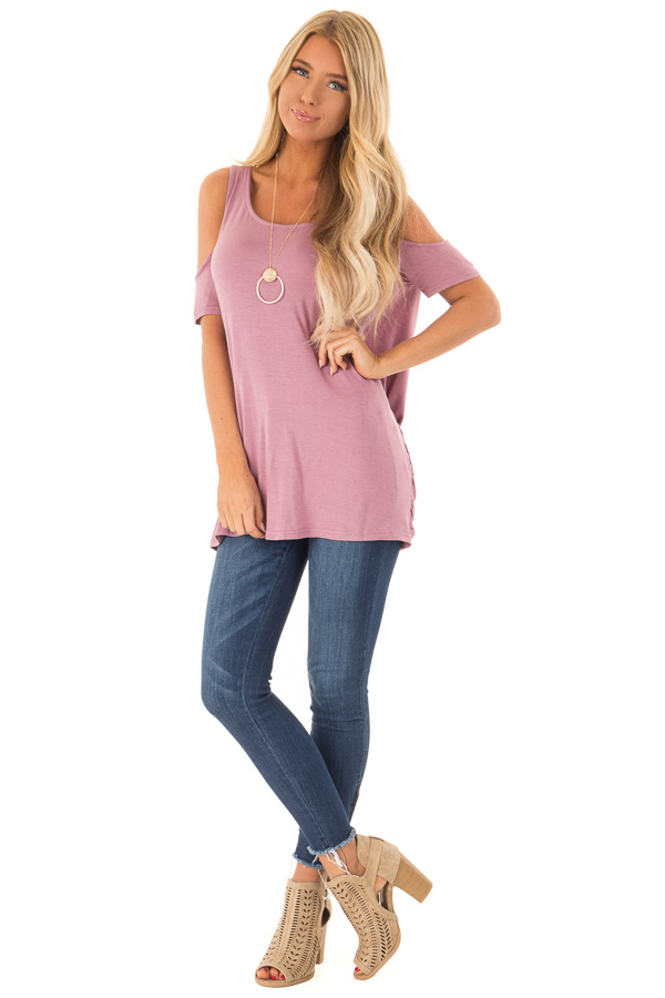 174079f369b4a ... close up · Dusty Mauve Cold Shoulder Top with Twisted Cage Back front  full body ...