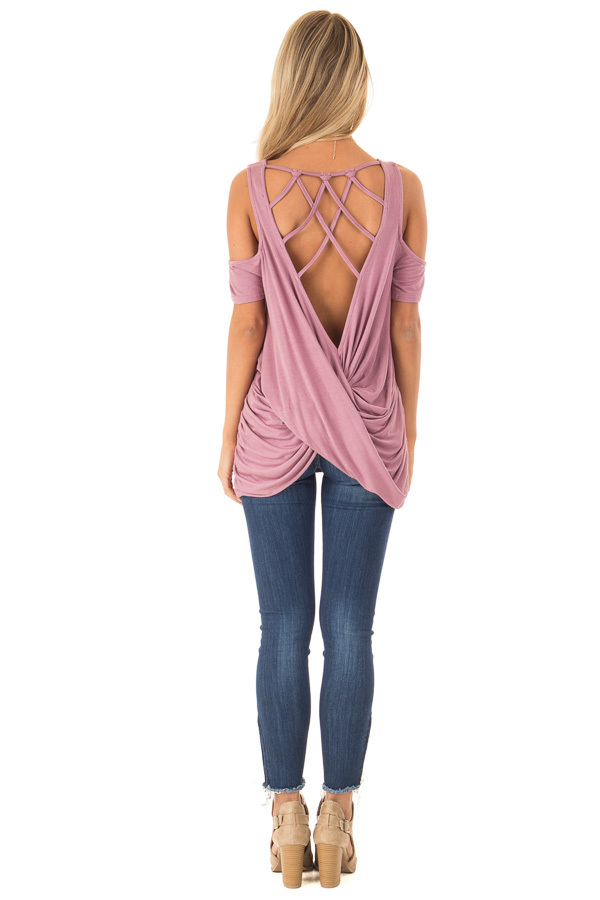 b77547d9550e3 ... Dusty Mauve Cold Shoulder Top with Twisted Cage Back back full body ...