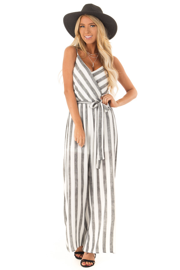Off White and Black Striped Jumpsuit with Waist Tie Detail front full body