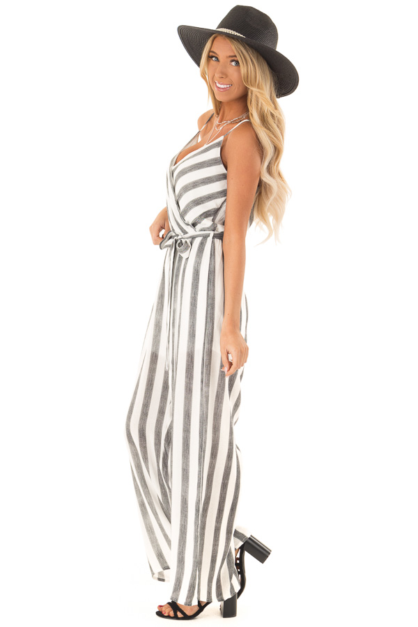 Off White and Black Striped Jumpsuit with Waist Tie Detail side full body