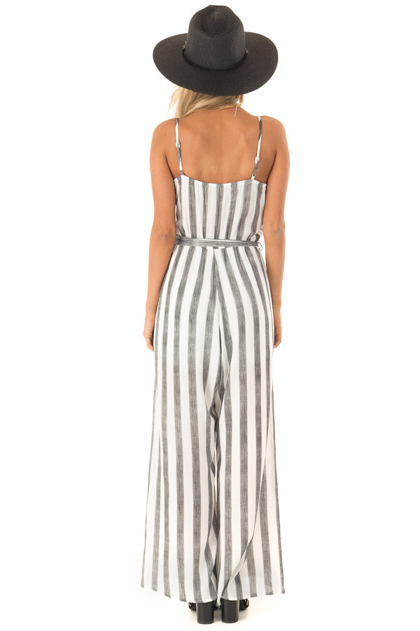 Off White and Black Striped Jumpsuit with Waist Tie Detail back full body