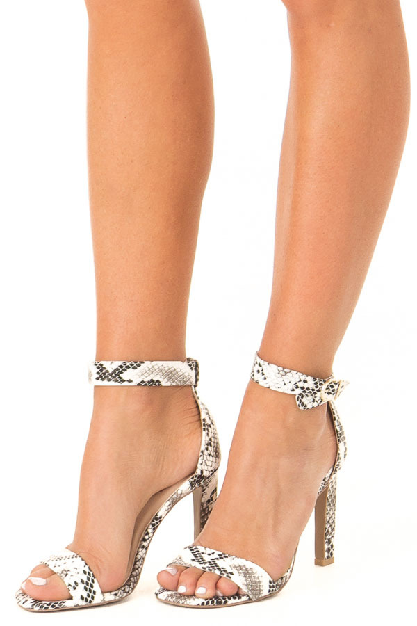 Charcoal and White Snake Skin High Heel with Ankle Strap side view