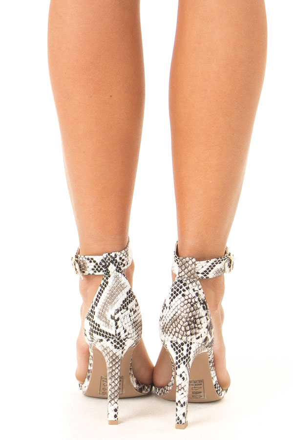 Charcoal and White Snake Skin High Heel with Ankle Strap back view