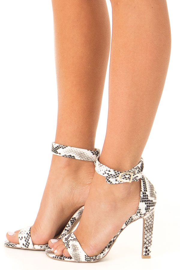 5e49a35b6f Charcoal and White Snake Skin High Heel with Ankle Strap - Lime Lush ...