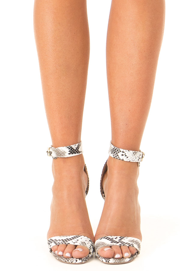 Charcoal and White Snake Skin High Heel with Ankle Strap front view