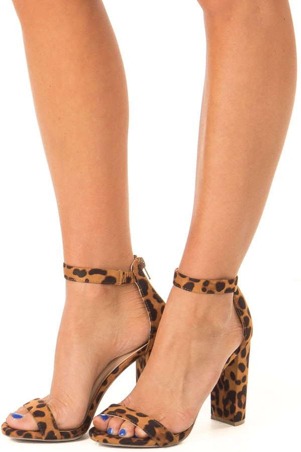 Caramel Leopard Print High Heels with Ankle Strap side view