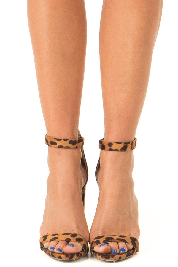 Caramel Leopard Print High Heels with Ankle Strap front view
