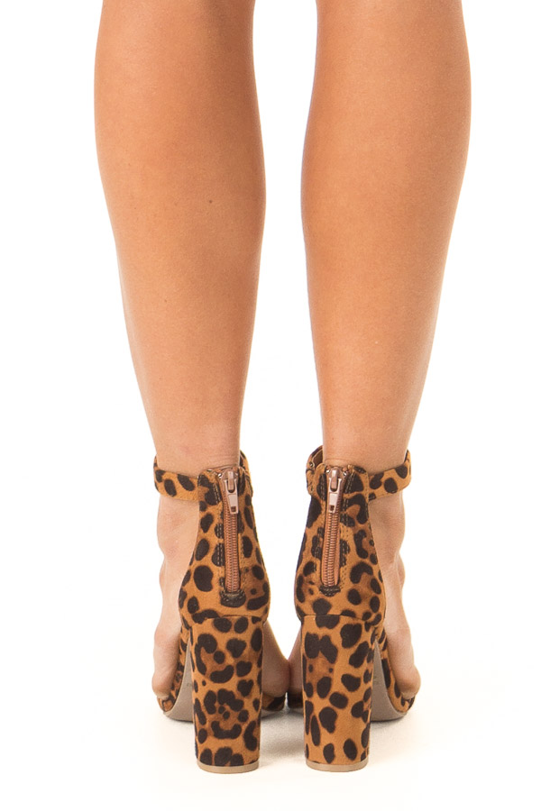 Caramel Leopard Print High Heels with Ankle Strap back view
