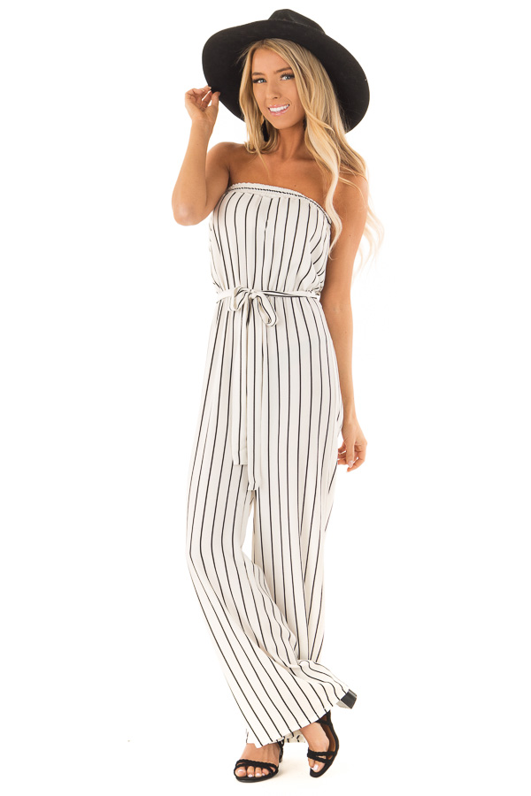 Ivory and Black Striped Strapless Jumpsuit with Waist Tie front full body