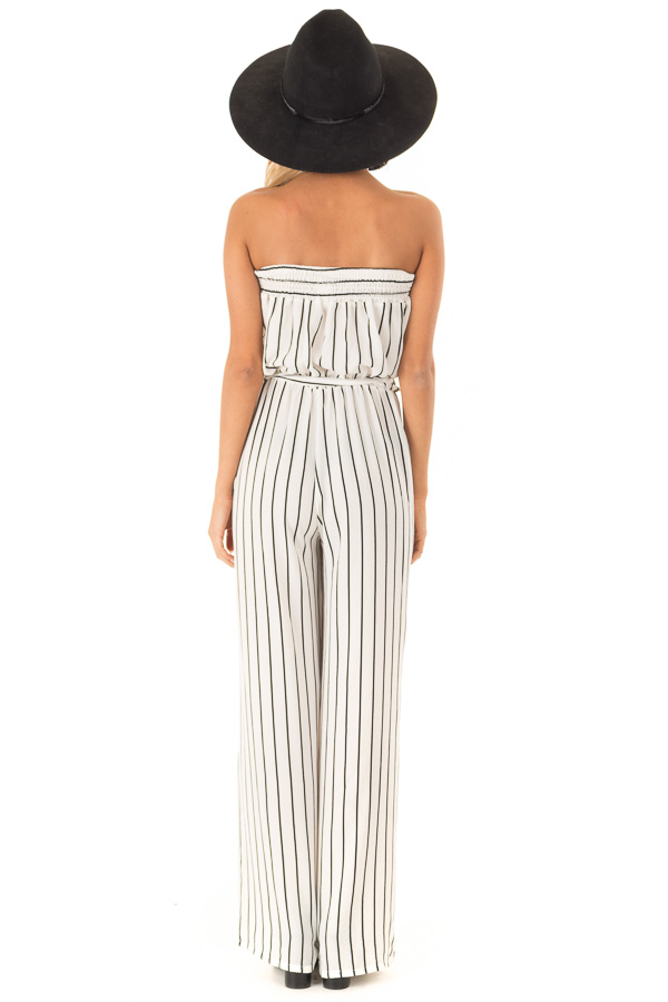 Ivory and Black Striped Strapless Jumpsuit with Waist Tie back full body