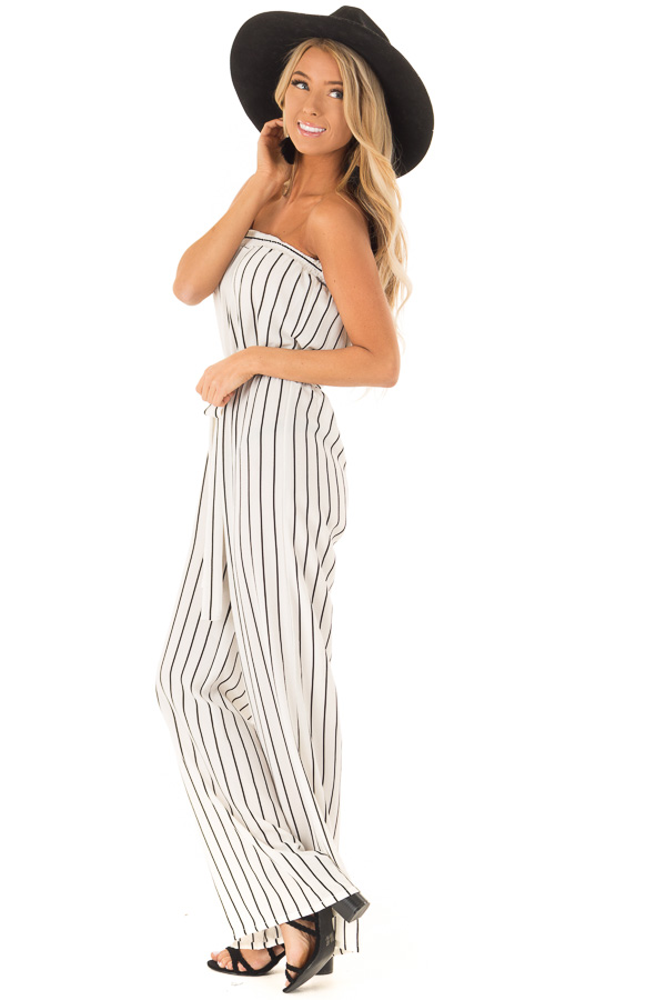 Ivory and Black Striped Strapless Jumpsuit with Waist Tie side full body