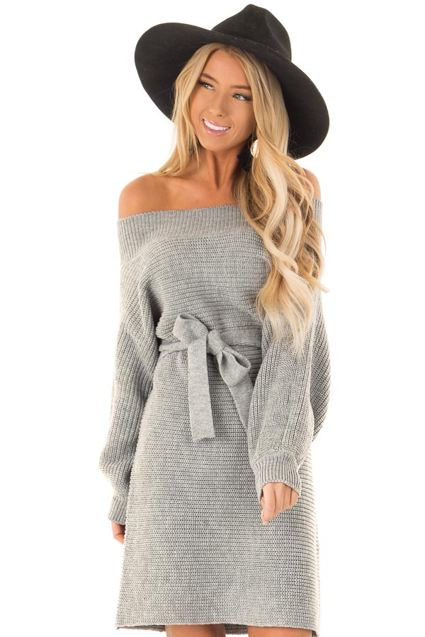 Slate Grey Off the Shoulder Sweater Dress with Tie front close up