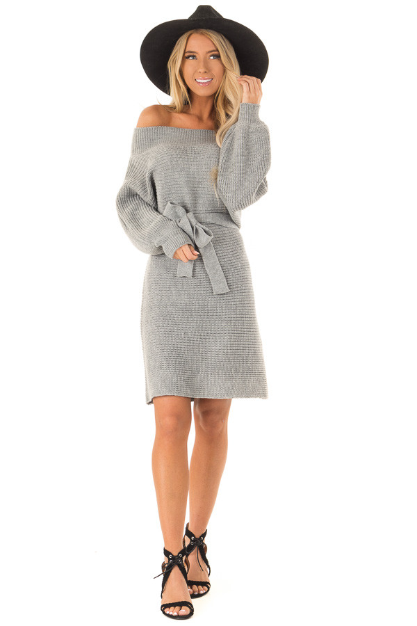 Slate Grey Off the Shoulder Sweater Dress with Tie front full body