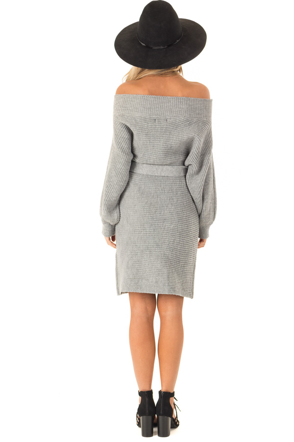 Slate Grey Off the Shoulder Sweater Dress with Tie back full body