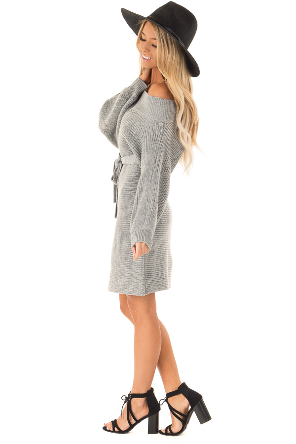 Slate Grey Off the Shoulder Sweater Dress with Tie side full body