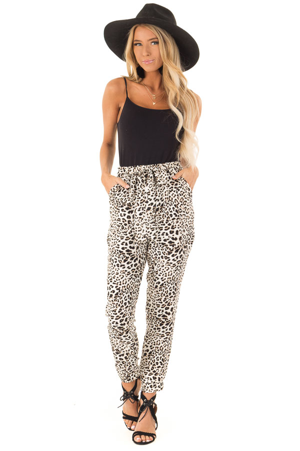 Cream and Taupe Leopard Print Joggers with Side Pockets front full body