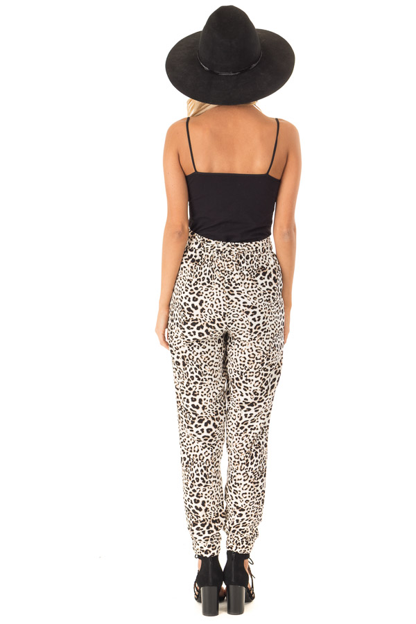 Cream and Taupe Leopard Print Joggers with Side Pockets back full body