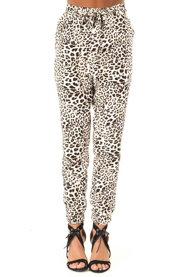 Cream and Taupe Leopard Print Joggers with Side Pockets front view