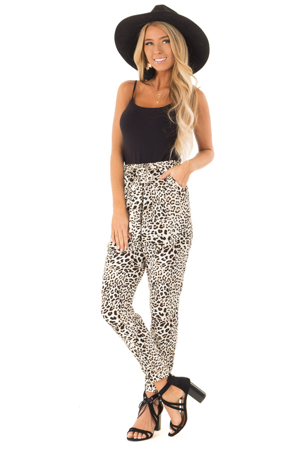 Cream and Taupe Leopard Print Joggers with Side Pockets front close up