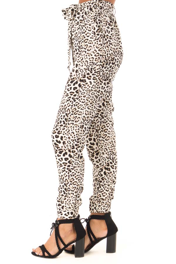 Cream and Taupe Leopard Print Joggers with Side Pockets side view