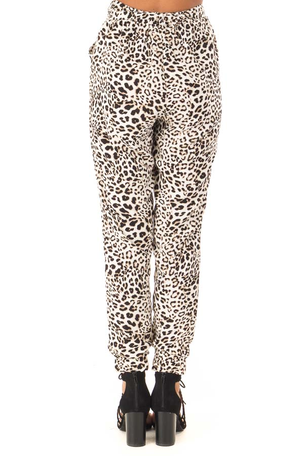 Cream and Taupe Leopard Print Joggers with Side Pockets back view