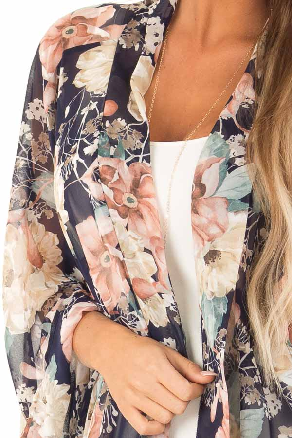 Navy Floral Print Long Kimono with Asymmetrical Hem detail