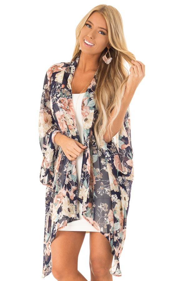Navy Floral Print Long Kimono with Asymmetrical Hem front close up