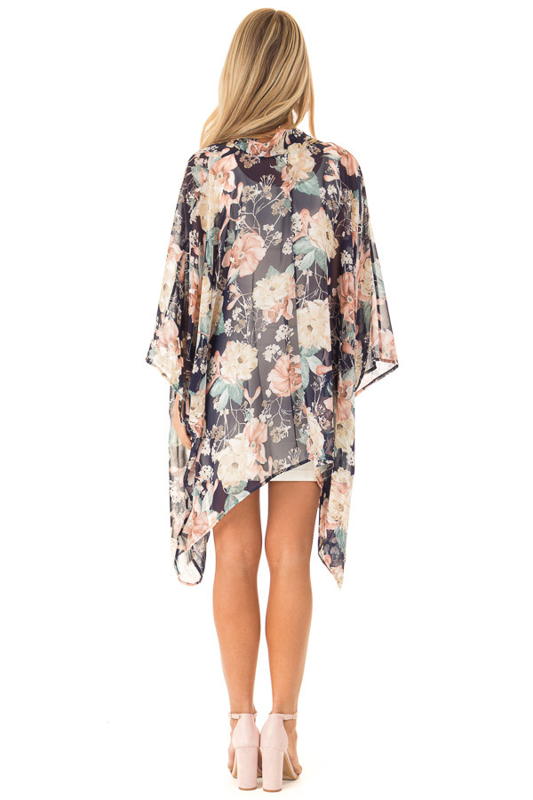 Navy Floral Print Long Kimono with Asymmetrical Hem back full body