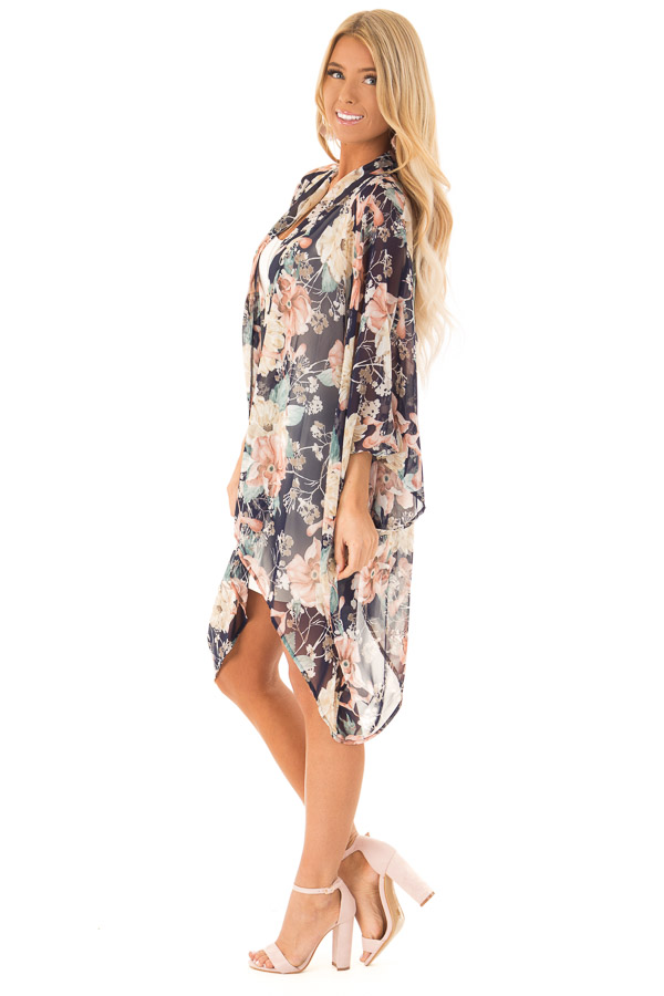 Navy Floral Print Long Kimono with Asymmetrical Hem side full body