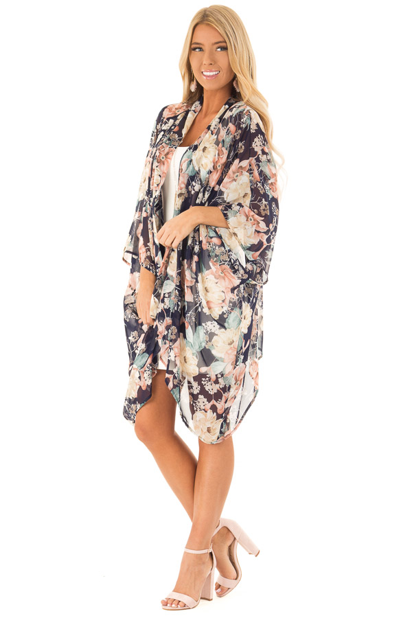 Navy Floral Print Long Kimono with Asymmetrical Hem front full body