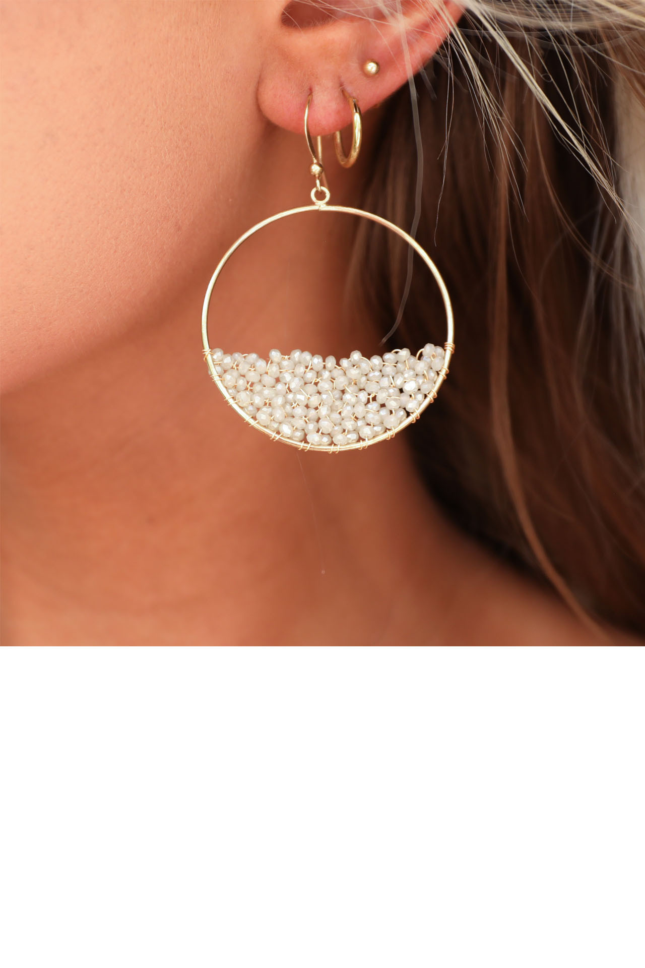Gold Hoop Earrings with Half Full Natural Crystal Bead Detail front close up