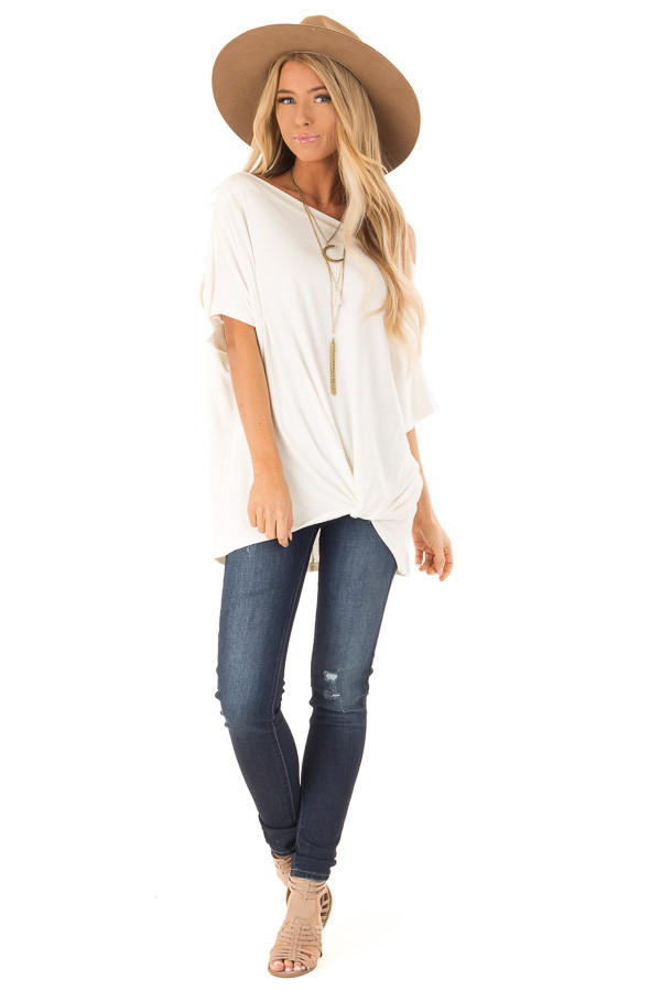 Ivory Short Sleeve Off the Shoulder Top with Twisted Front front full body