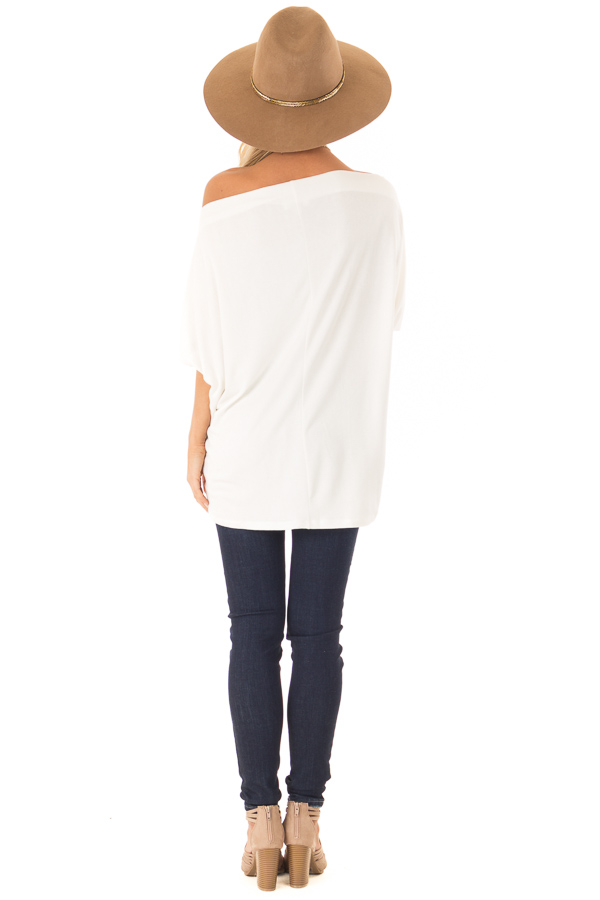 Ivory Short Sleeve Off the Shoulder Top with Twisted Front back full body