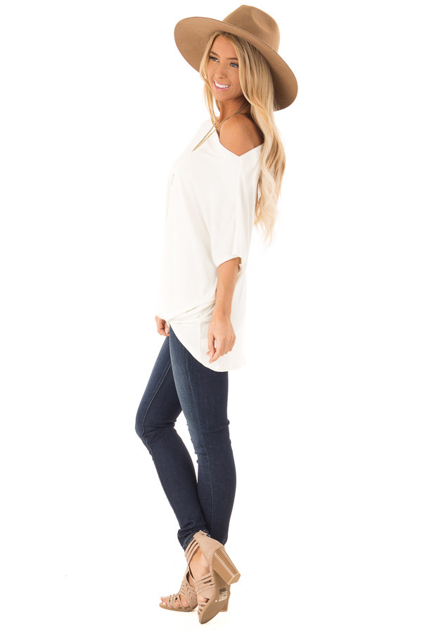 Ivory Short Sleeve Off the Shoulder Top with Twisted Front side full body