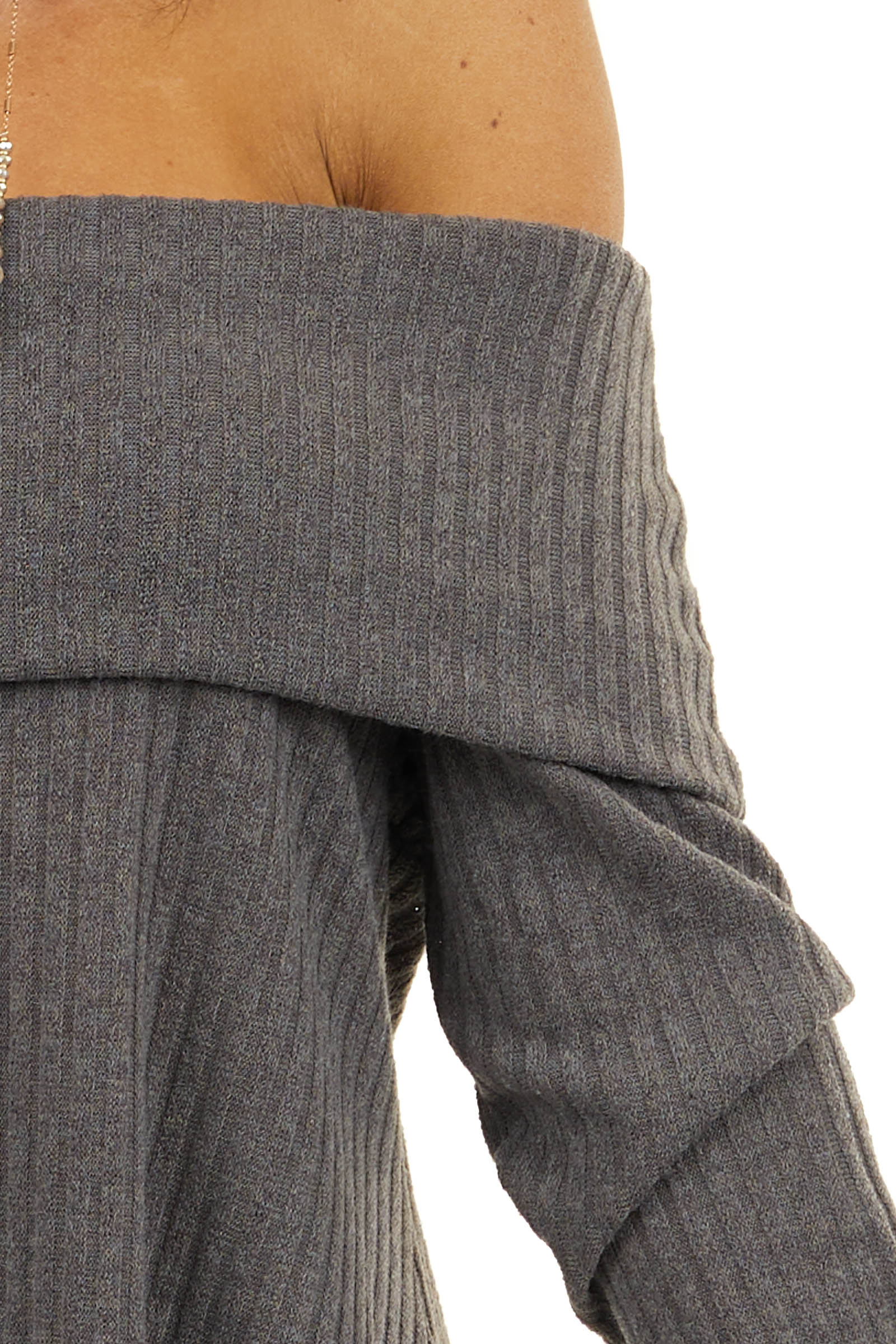 Mocha Folded Off the Shoulder Ribbed Top with Long Sleeves