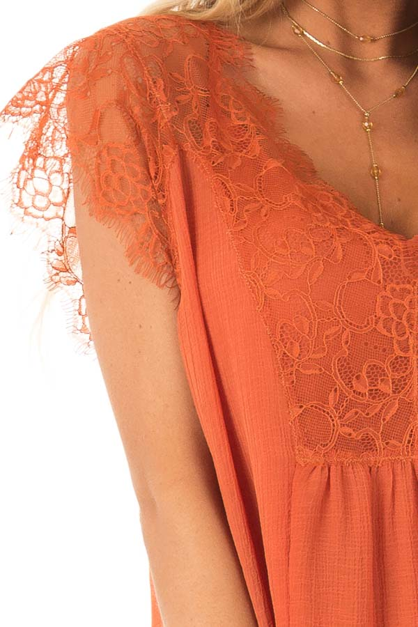 Burnt Orange  V Neck Top with Short Lace Sleeves detail