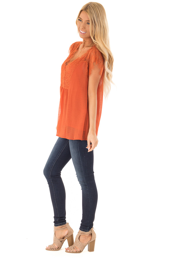 Burnt Orange  V Neck Top with Short Lace Sleeves side full body