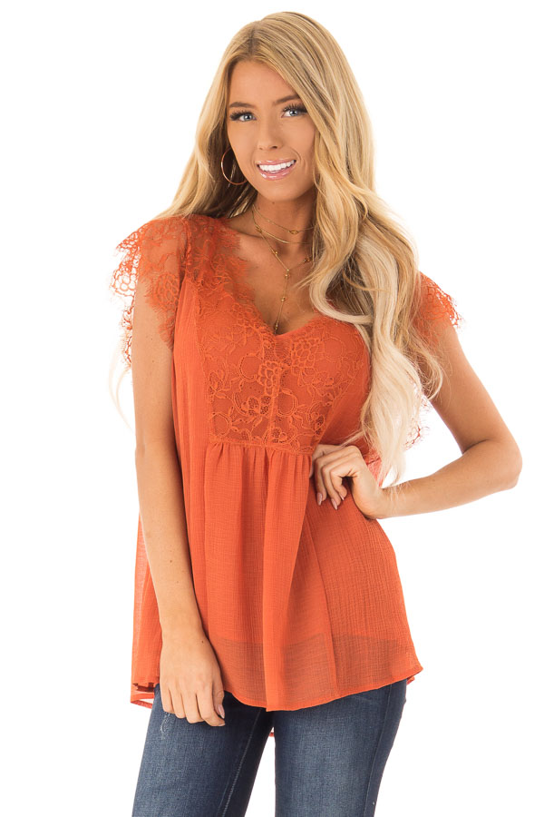 Burnt Orange  V Neck Top with Short Lace Sleeves front close up