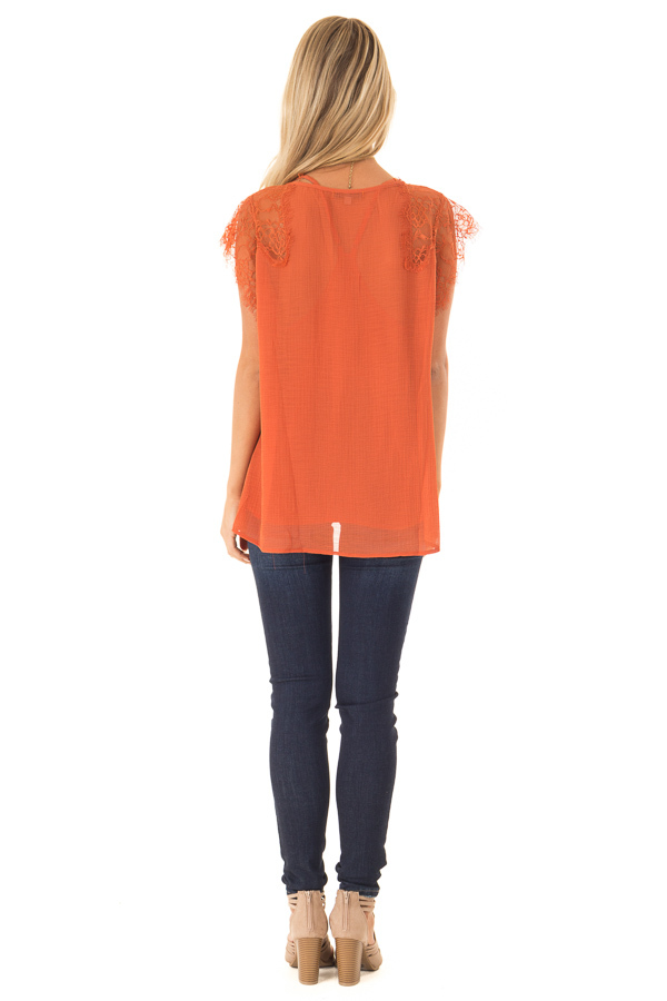 Burnt Orange  V Neck Top with Short Lace Sleeves back full body