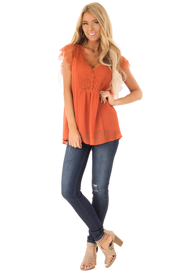 Burnt Orange  V Neck Top with Short Lace Sleeves front full body