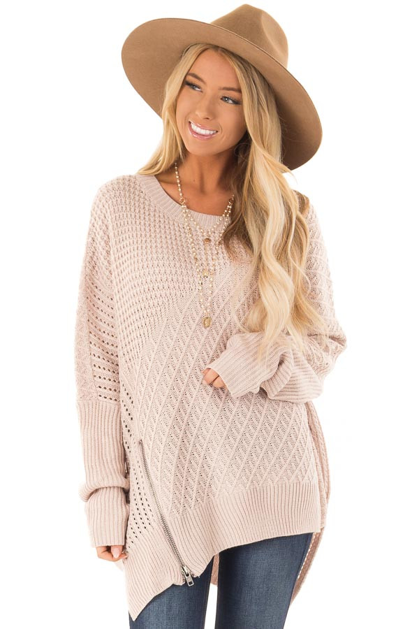 Blush Textured Sweater with Side Zipper Detail front close up